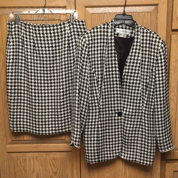 Christian Dior Houndstooth Suit Skirt Black White